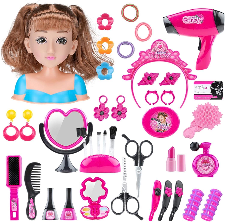 12che T/ête /à Coiffer et /à MaquIller Deluxe Maquillage Enfant Fille Coiffure Enfant S/èche-Cheveu Jouet