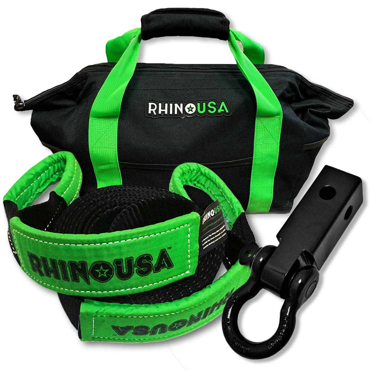 RHINO USA COMBO Recovery Tow Strap (30ft) & Shackle Hitch Receiver - Lab Tested 31,518lb Break Strength - Heavy Duty Storage Bag Included - Triple Reinforced Loop End to Ensure Peace of Mind by Rhino USA