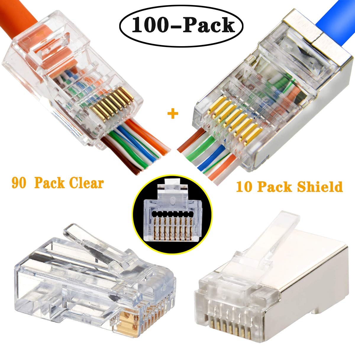 RJ45 CAT5 Cat6 Connector Pass Through Enthernet Network Shiled Clear Ends Plug 100pcs by PETECHTOOL