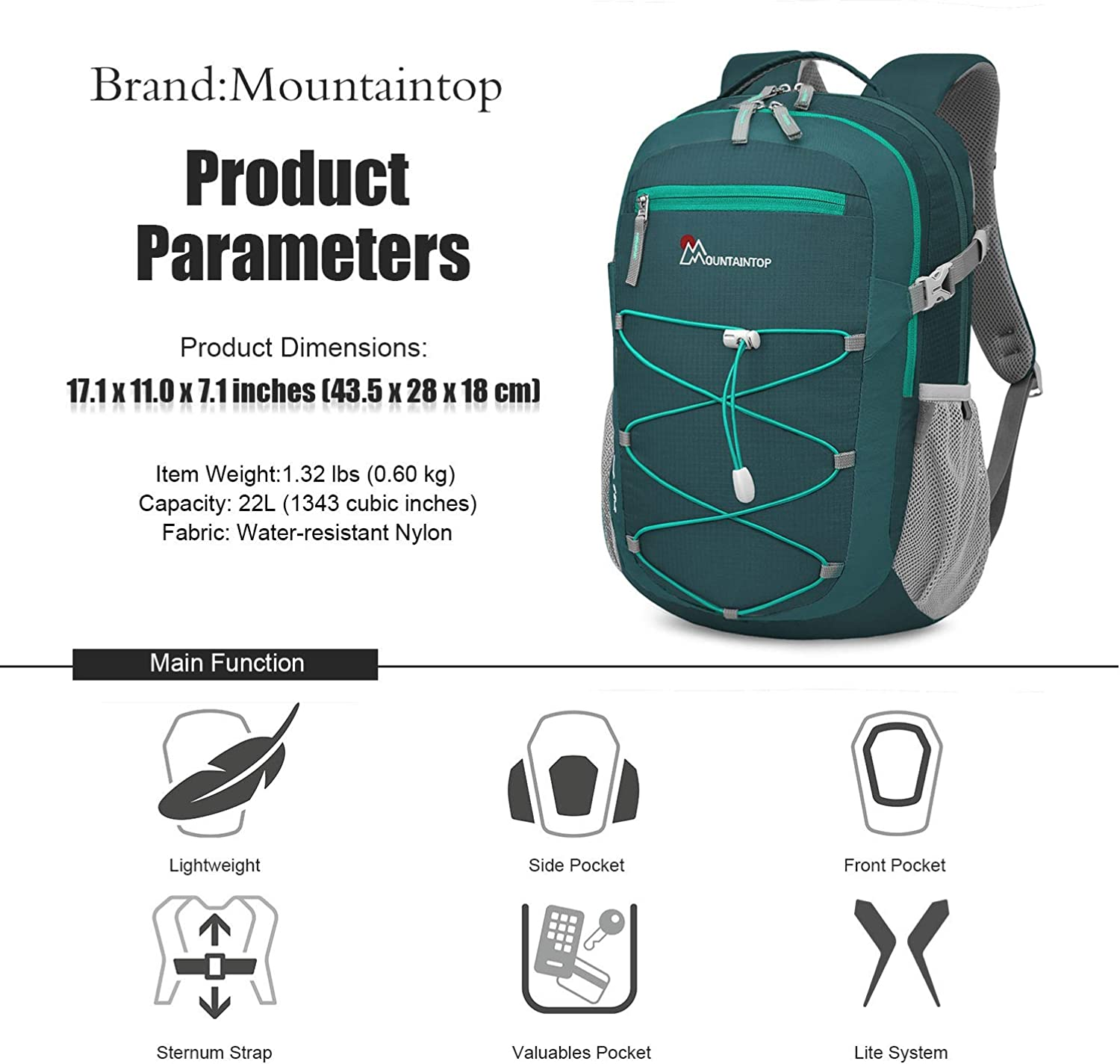 MOUNTAINTOP 22L Unisex Hiking//Camping Backpack