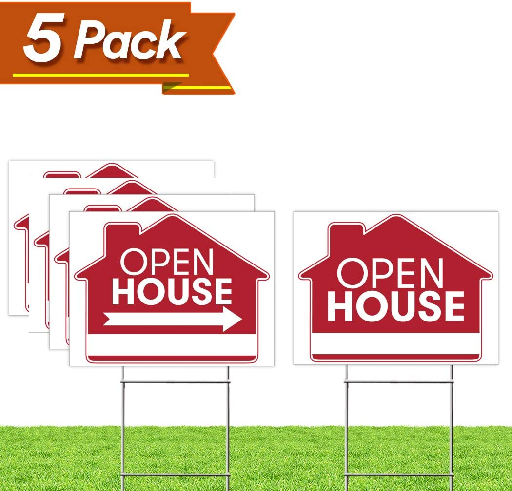 """Open House Real Estate Signs – [Upgraded] 5 Double Sided Red Property Yard Sign Bulk Pack & 5 Heavy Duty Rust Free H Wire Stakes – Large Directional Arrows - 18""""x 24"""" Realtor Agent Supplies"""