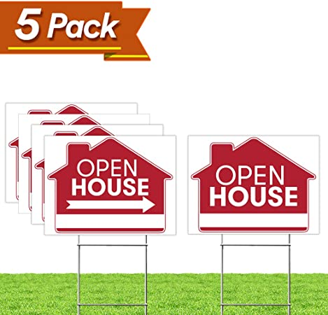Drive-Thru Open Red Blue Corrugated Plastic Yard Sign //Free Stakes