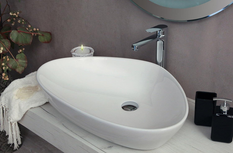 Yellowshop - Lavabo Da Appoggio Cm 67 x 44 Bacinella Lavandino Lavello In Ceramica Bianco Sanitari Bagno Design Moderno Modello Jazz