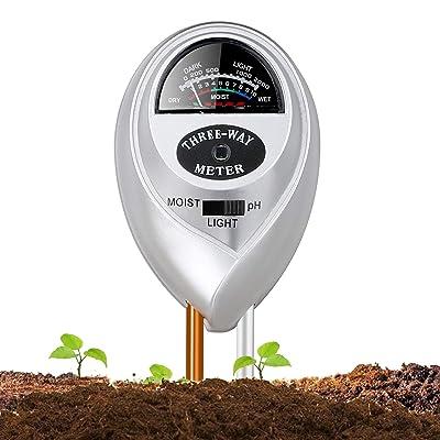 Soil pH Meter, Jellas 3-in-1 Moisture Sensor Meter/Light/pH Soil Test Kits Test Plant Moisture Meter for Garden, Farm, Lawn, Indoor & Outdoor Use(Silver) (Silver-Soil pH Meter) : Garden & Outdoor