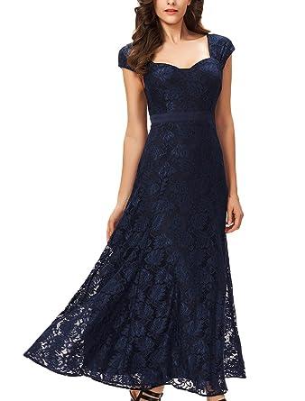 Noctflos Womens Elegant Lace Evening Maxi Dress for Formal Party ...