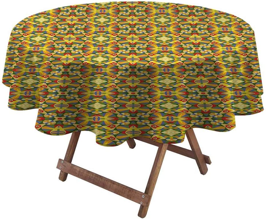 """Table Cloths for Round Tables Geometric for Picnic Party Patio Table Camping Sixties Inspired Kaleidoscopic Colorful Pattern Geometric Shapes Triangles Lines 36"""" Diameter Multicolor"""