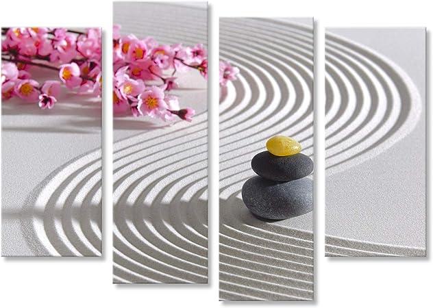 islandburner Cuadro Cuadros Japón meditación Zen jardín con Estructura de Piedra en Arena Impresión sobre Lienzo - Formato Grande - Cuadros Modernos: Amazon.es: Hogar