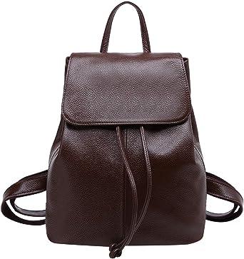 New Men/'s Genuine Cow  Leather Backpack Travel School Book Bag Handbag Black