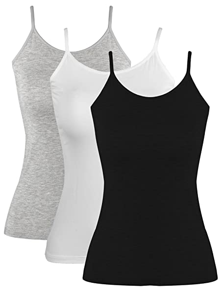 771a6eab90440a Blulu Women Camisole Basic Camis Tanks Stretch Cami With Adjustable Straps