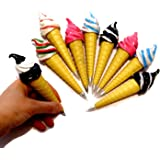 Assorted Magnetic Ice Cream Cone Writing Pens for Kids Pack of 6 - Cool Multicolor Pens for Kids Party Favor   Birthday Party Fun Novelty Pens 6 Pk. School Supplies for Ages 3 and Up