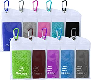 "Sukeen [10 Pack] Cooling Towel (40""x12""),Ice Towel,Soft Breathable Chilly Towel,Microfiber Towel for Yoga,Sport,Running,Gym,Workout,Camping,Fitness,Workout & More Activities"