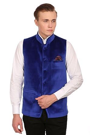 100% genuine cute cheap buy good WINTAGE Homme Velours sans Poussière Casual et Festif Gilet Nehru Jacket :  Dark Vert, Toutes Les Tailles
