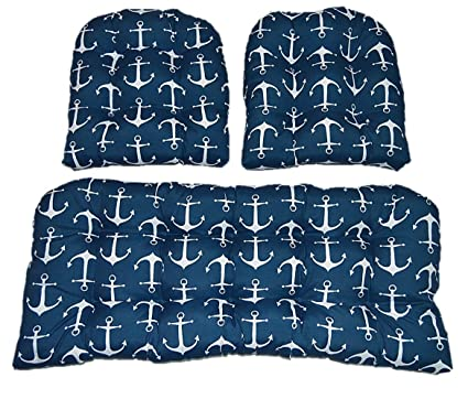Beau 3 Piece Wicker Cushion Set   Navy Blue With White Anchors Nautical Indoor /  Outdoor Fabric