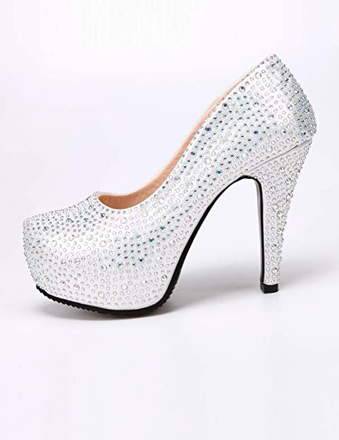 cooshional Damen Pumps Silber mit Plateau High Heels