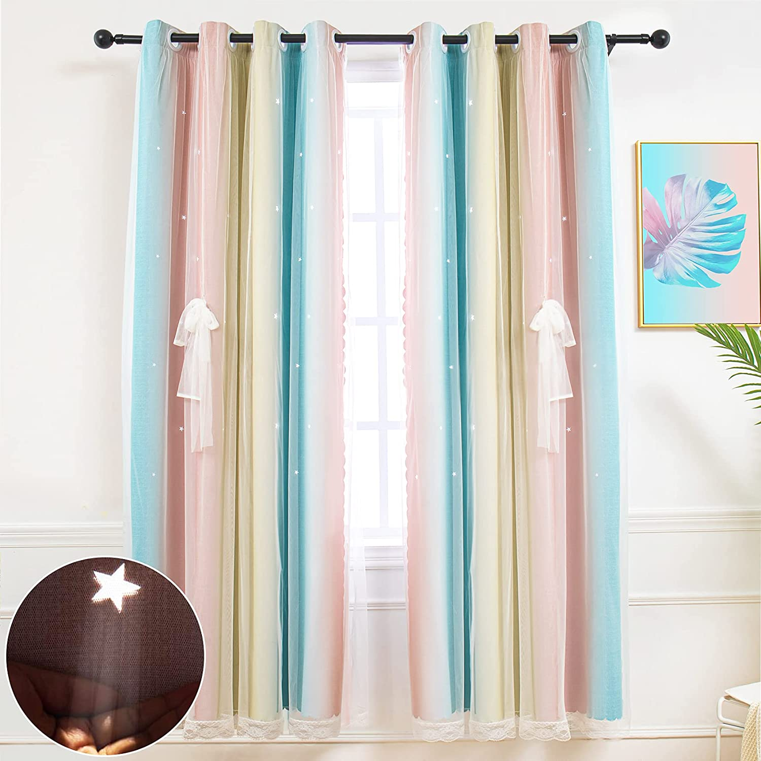 Hughapy Star Curtains for Girls Bedroom Kids Room Decor Light Blocking Voile Overlay Princess Star Hollowed Curtain Colorful Striped Layered Window Curtain, 1 Panel ( 52W x 95L, Pink / Blue)