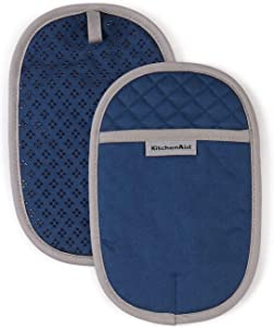 KitchenAid Asteroid Cotton Pot Holders with Silicone Grip, Set of 2, Blue Willow