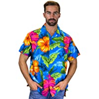 V.H.O. Original King Kameha | Funky Hawaiian Shirt | Men | XS-12XL | Short-Sleeve | Front-Pocket | Hawaiian-Print | Big Flower Summer | Multiple Colours