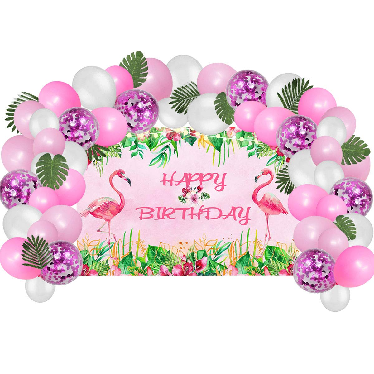Flamingo Birthday Party Supplies Decorations, Pink Flamingo Backdrop With Balloons Kit For Kids Photo Background, Gift For Girls