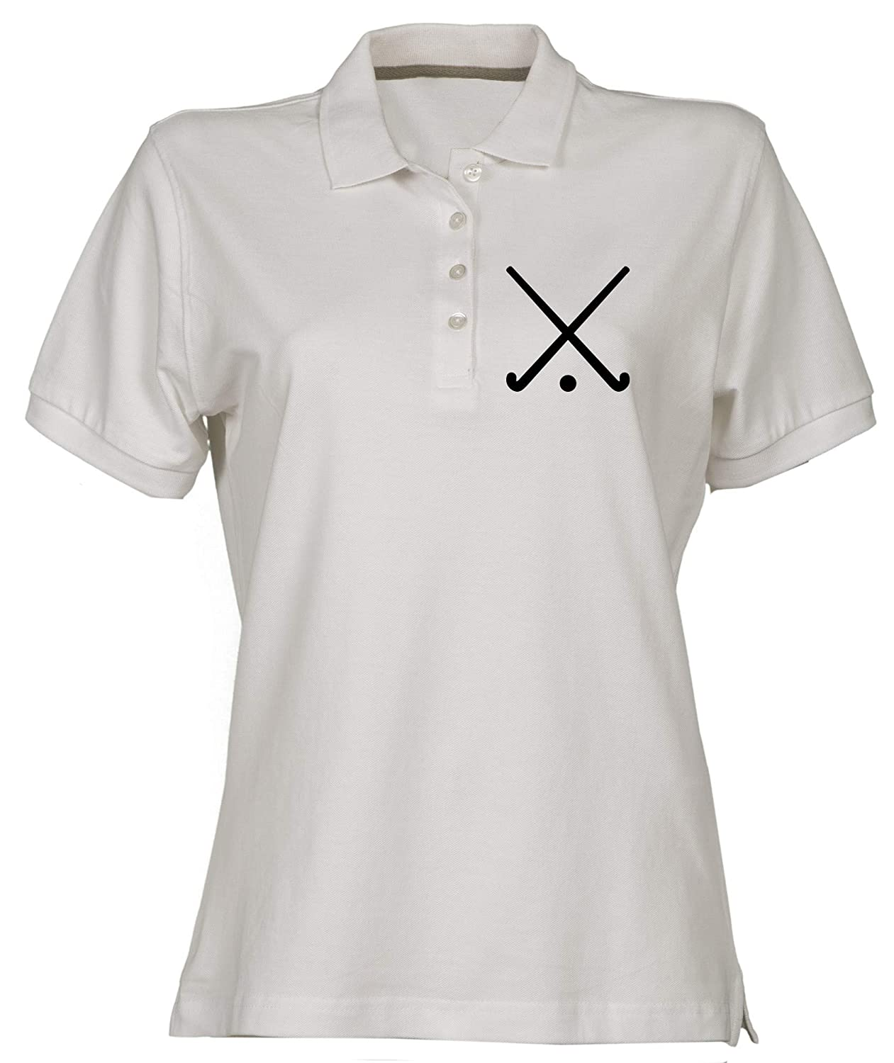 T-Shirtshock Polo pour Femme Blanc WTC1123 Crossed Field Hockey Clubs