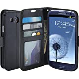 S3 Case, LK [Kickstand Feature] S3 Wallet Case, Luxury PU Leather Wallet Case Flip Cover Built-in Card Slots Stand For Samsung Galaxy S3, BLACK