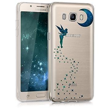 kwmobile Funda para Samsung Galaxy J5 (2016) DUOS - Carcasa de [TPU] para móvil y diseño de Hada en [Azul Oscuro/petróleo/Transparente]