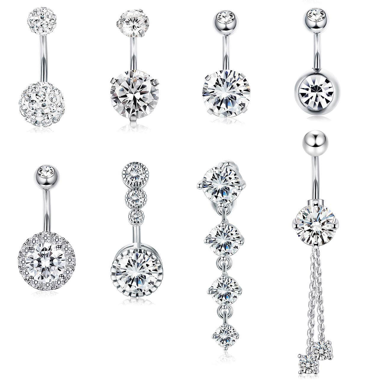 Udalyn 6-8 Pcs 14G Belly Burron Rings Stainless Steel Navel Rings for Women Body Piercing Jewery Set with Waist Chain by Udalyn