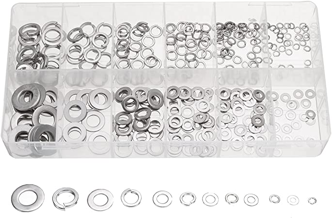 Spring//Lock Type 350pc 6 sizes Stainless Steel Washers Assortment Set w// Flat