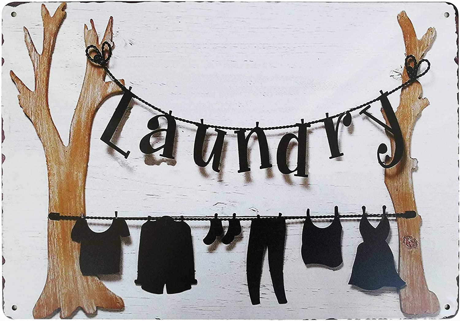 PXIYOU Novelty Dry Clothes Laundry Vintage Retro Metal Sign Home Bathroom Laundry Room Decor Wash Room Signs Farmhouse Country Home Decor 8X12Inch