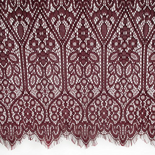 Retro Elegant Floral Eyelash Lace Trims Fabric In Burgundy Purplish Red Date Red For Dress Wedding Bridal Veils Craft Sewing Home Decor 59 Inch Wide Pack of 3 (Chantilly Lace Fabric)