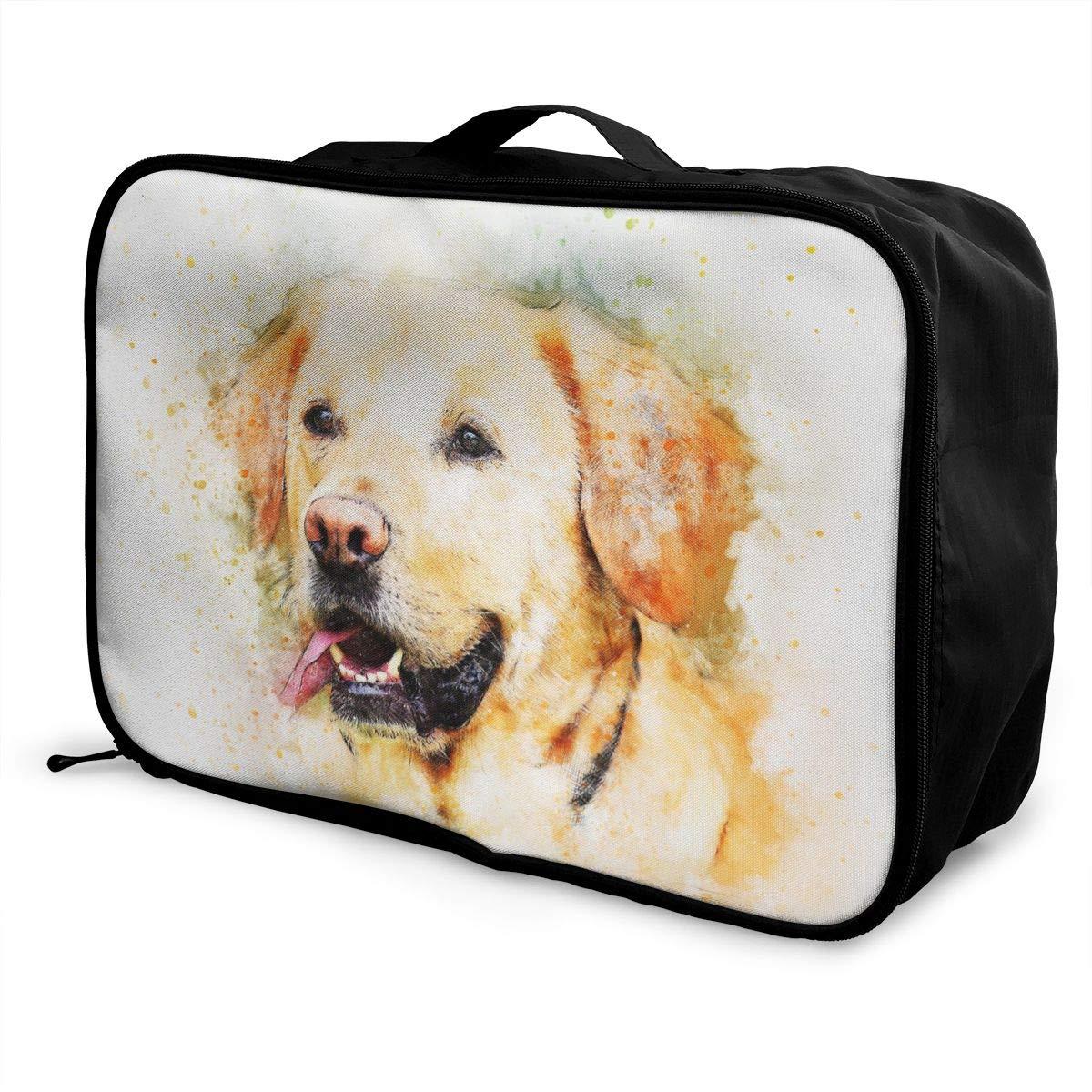 Animal Art Watercolor Pet Travel Lightweight Waterproof Foldable Storage Carry Luggage Large Capacity Portable Luggage Bag Duffel Bag