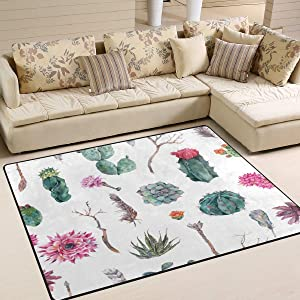Area Rug 63x48 Inch Exotic Vintage Watercolor Plant Living Room Bedroom