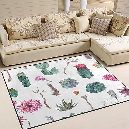 Tapis 63x48 Pouces Exotique Vintage Aquarelle Cactus Plant ...