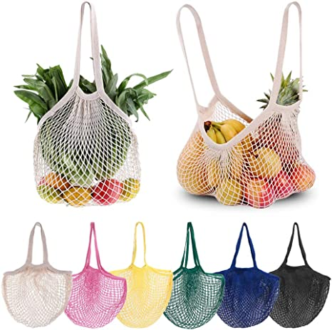 Castries Market Bag Free Phone Pouch and Travel Case Included Beach Net Bag Reusable Market Bag in Pink /& White Cotton Mesh Tote