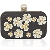 Tooba Handicraft Beautiful Pearl Flower clutch bag purse for casual party wedding