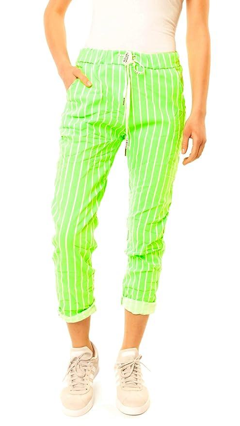 Pantalón para mujer con rayas de color verde neón