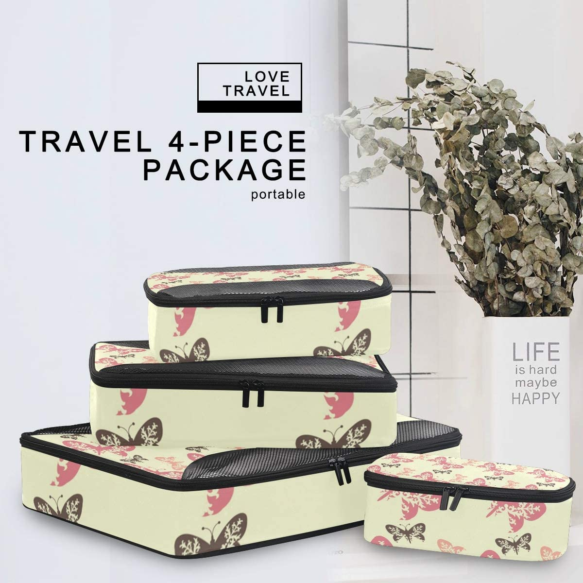 Art Pink Butterfly Luggage Packing Cubes Organizers Toiletry Laundry Storage Bag Pouches Packable Cube 4 Various Sizes Set for Travel Kids Women