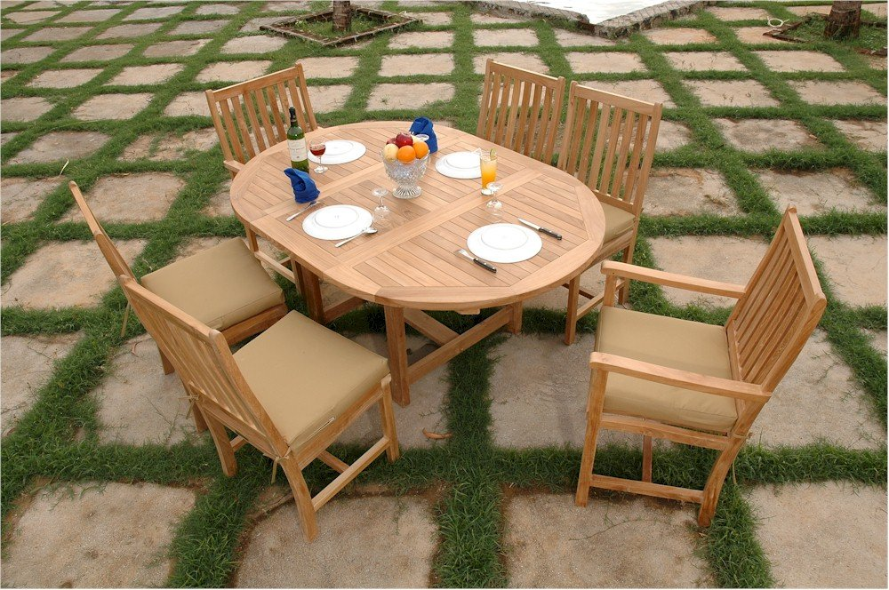 "Anderson Teak Set-26 - No Cushion 67"" Oval Extension Table & Wilshire Dining Armchair Set with No Cushion"