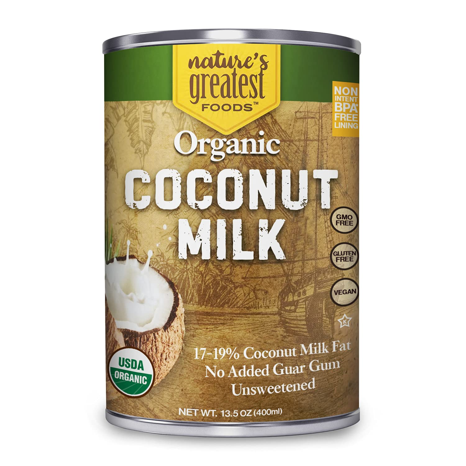 Organic Coconut Milk by Nature's Greatest Foods - 13.5 Oz - No Guar Gum, No Preservatives - Gluten Free, Vegan and Kosher - 17-19% Coconut Milk Fat, Unsweetened (6-Pack)