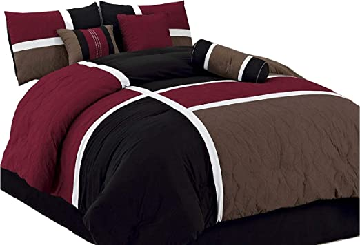 Chezmoi Collection 7-Piece Quilted Patchwork Comforter Set California King Upland-Com-Burgundy Burgundy//Brown//Black