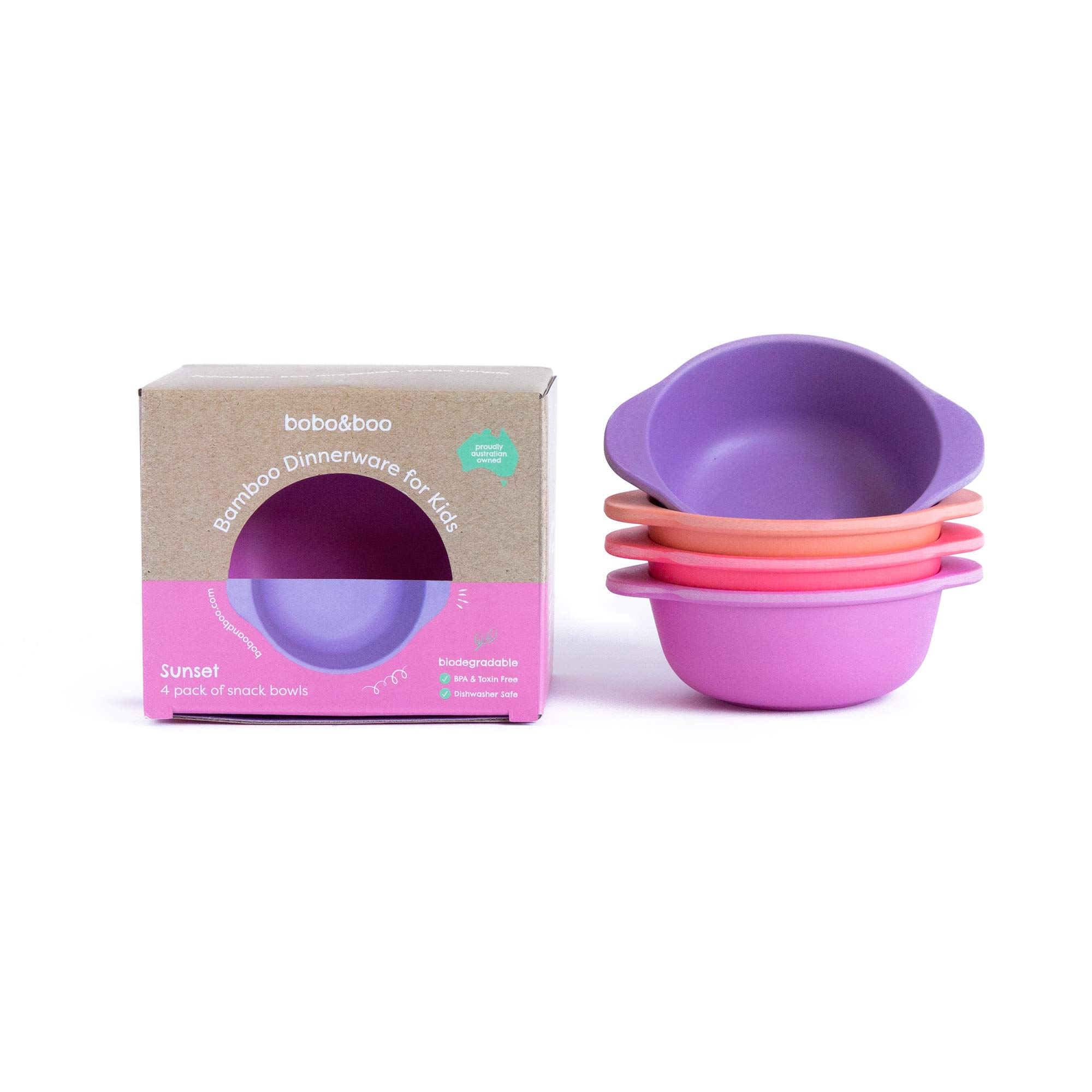 Bobo&Boo Bamboo Kids Snack Bowls, Set of 4 Bamboo Dishes, Non Toxic, Eco Friendly & Stackable Kids Snack Containers, Great Gift for Baby Showers, Birthdays & Preschool Graduations, Sunset by Bobo&boo