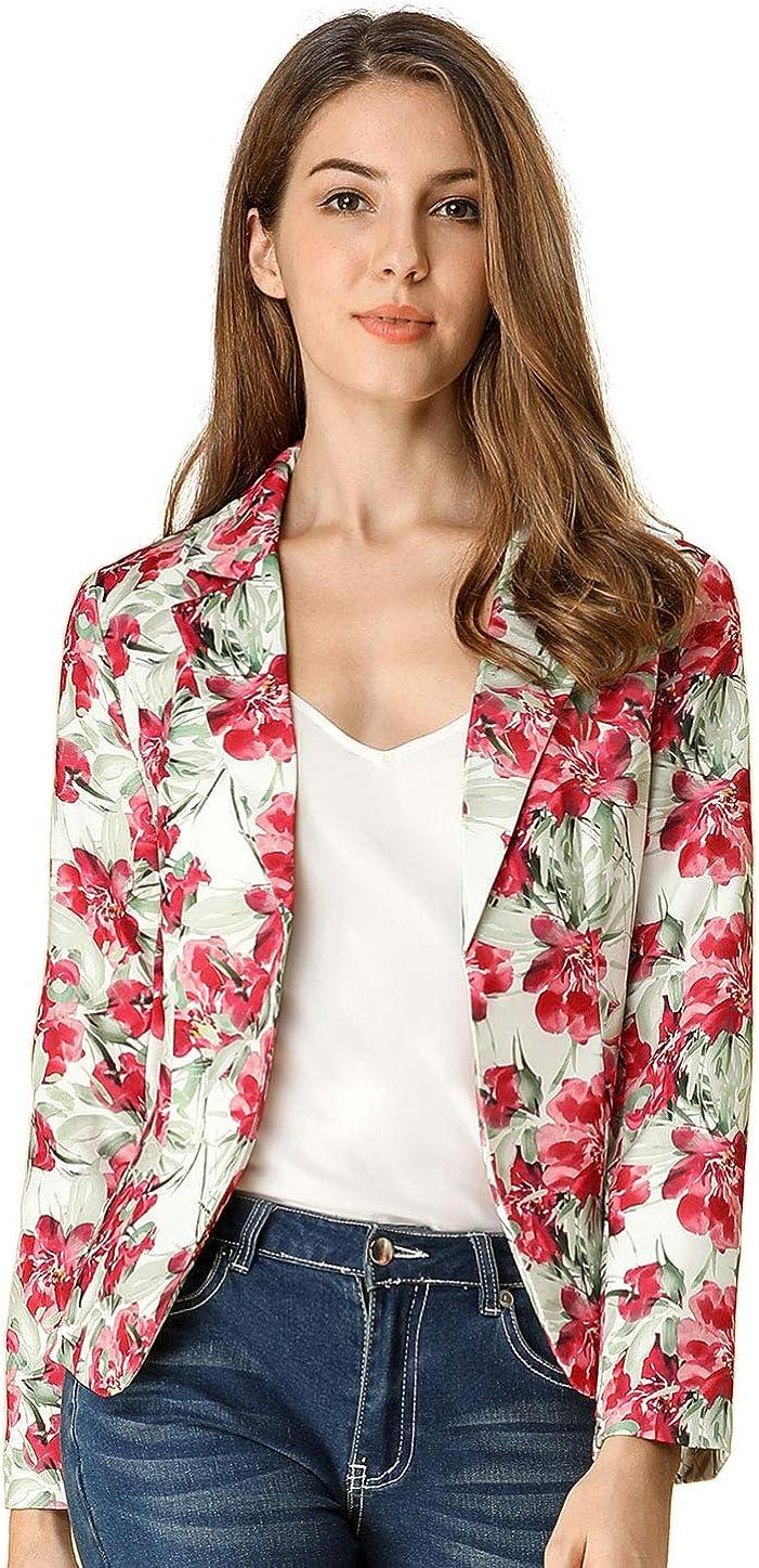 Allegra K Chaqueta Blázer Estampado Floral por Todas Partes Solapa con Muescas Frente Abierto para Mujer