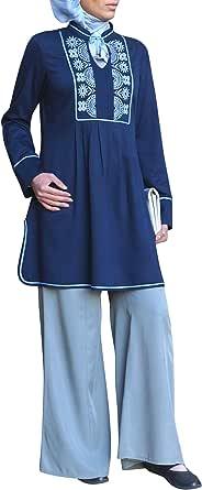 SHUKR Anjum Top For Women - L, Royal Blue