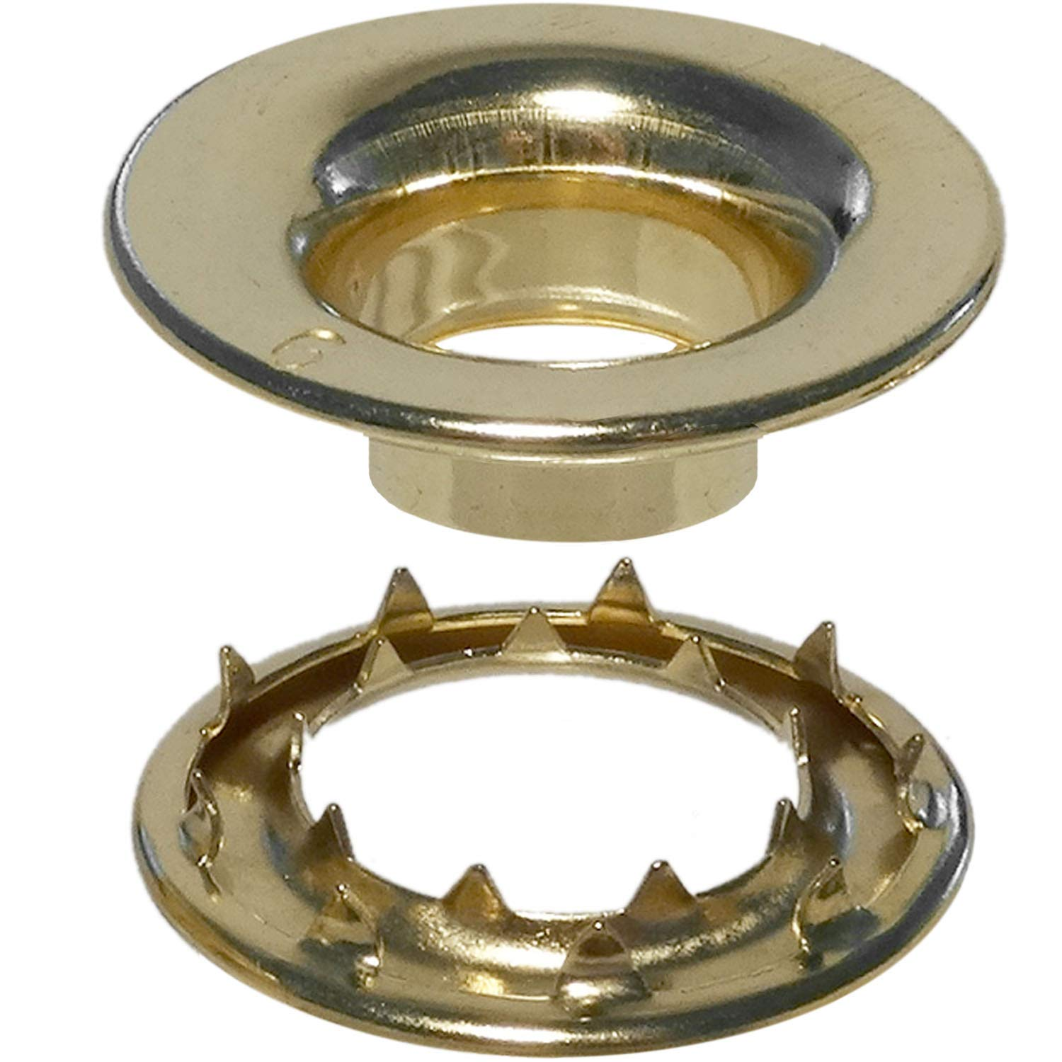 Stimpson Rolled Rim Grommet and Spur Washer Brass Durable, Reliable, Heavy-Duty #6 Set (144 pieces of each)