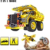 Building Blocks Toy, 361 Pieces Educational Construction Engineering Building Dump Truck and Airplane for 6 Year Old Kids, The Best Birthday Gift Creative 2 in 1 Toy