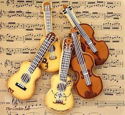 Gudelaa Molde de Galleta de Acero Inoxidable Forma de Guitarra Cortador Fondant Cake Chocolate Mold: Amazon.es: Hogar