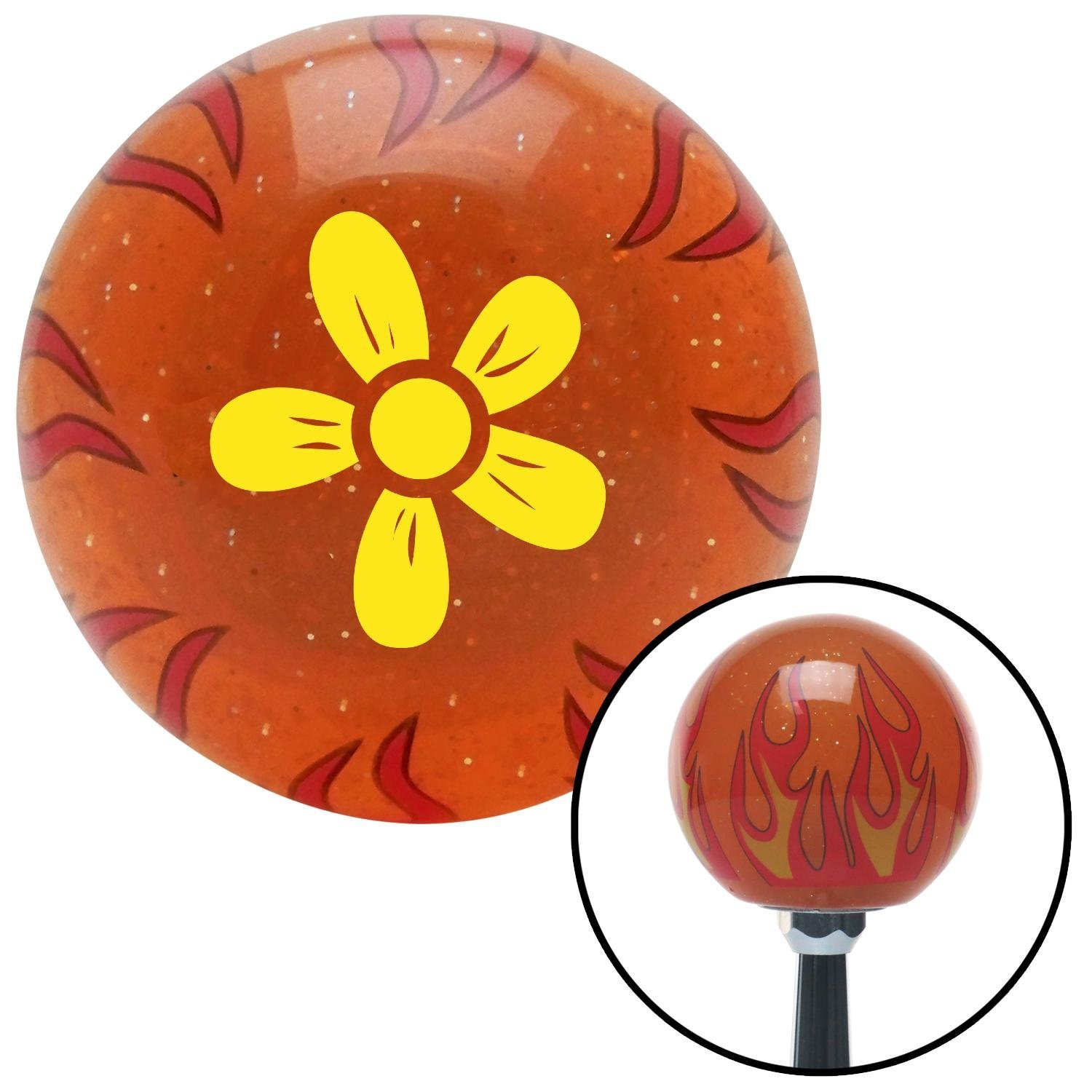 Yellow Hawaiian Flower #2 American Shifter 257124 Orange Flame Metal Flake Shift Knob with M16 x 1.5 Insert