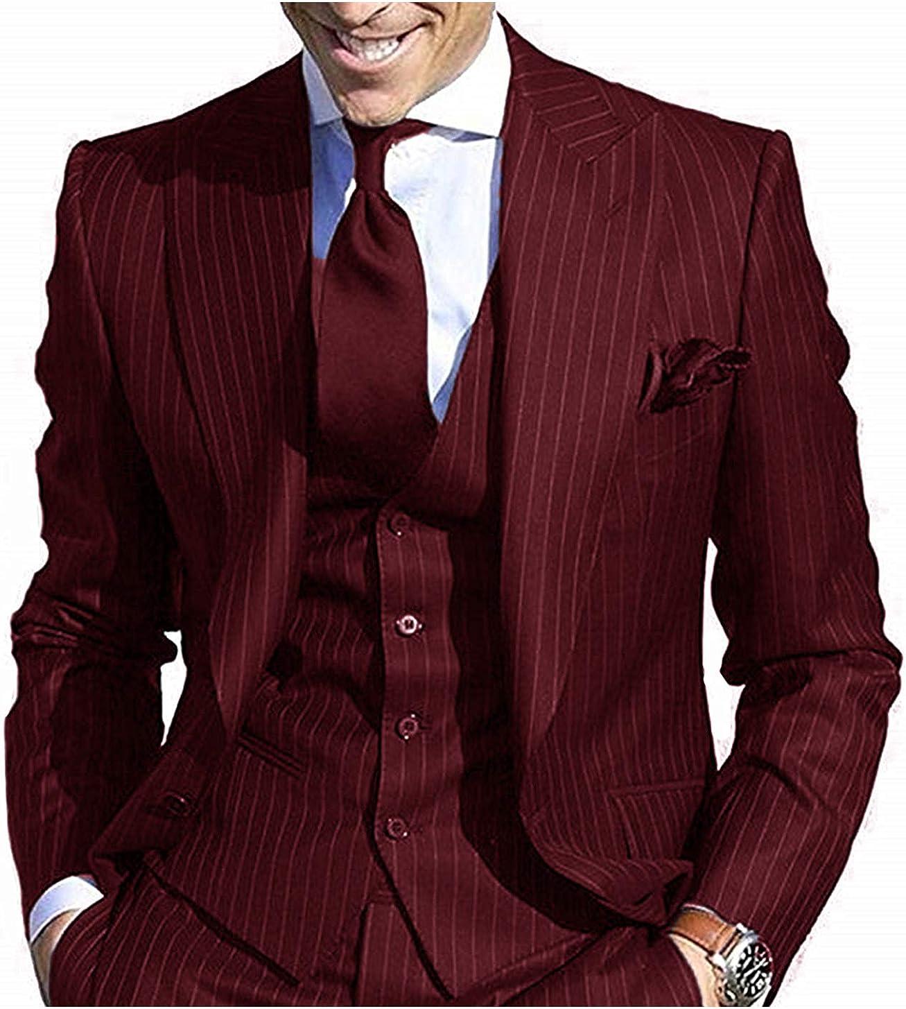 Navy Blue Jackets+Vest+Trousers GBWD Mens Suit Slim Fit Stripe 3 ...