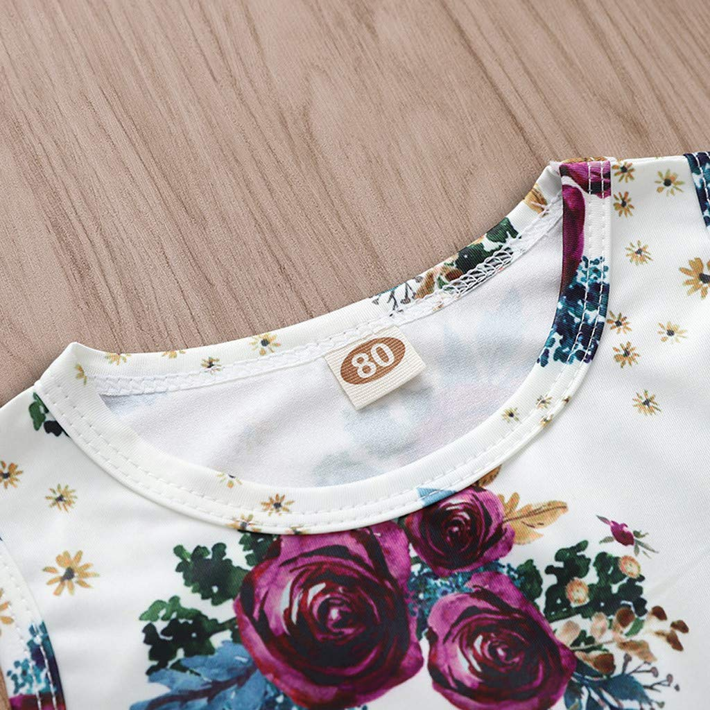 HP95 Infant Baby Girls Romper Rosette Print Sleeveless Romper Newborn Jumpsuit Bodysuit Outfits One Piece Clothes Hair Band