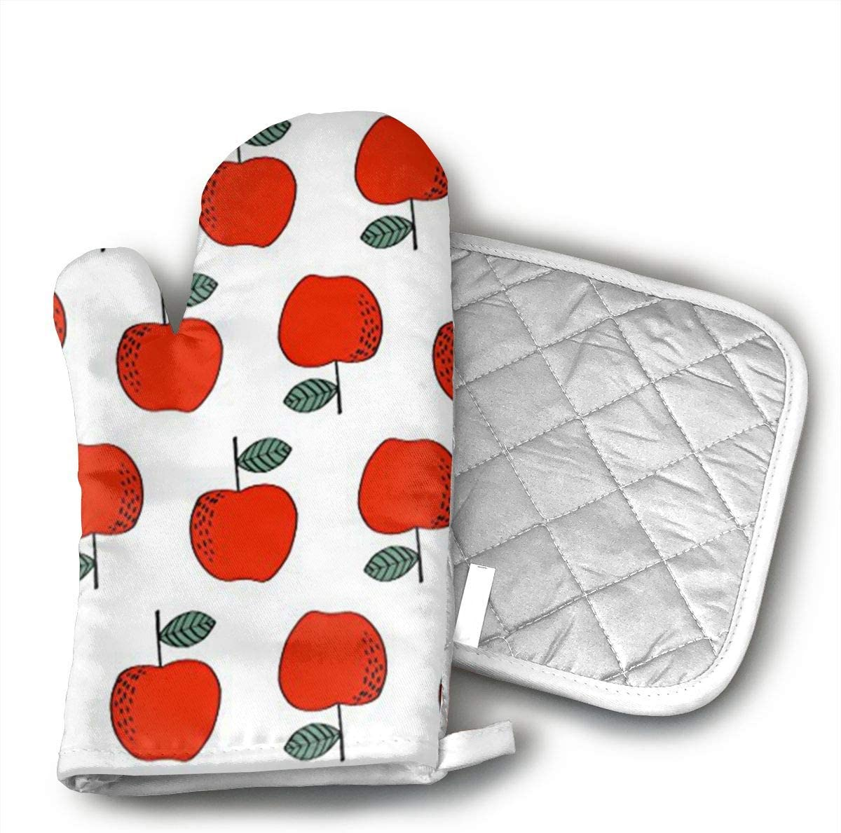 YYYNN Christmas Apples Red Sweet Oven mitt Cotton Pot Rack Non-Slip for Kitchen Grill Machine Cooking Baking Grill
