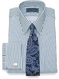 Paul Fredrick Mens Classic Fit Pure Cotton Twin Stripe Dress Shirt